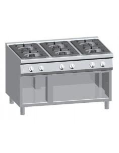 Cucina a gas 6 fuochi su vano aperto Serie 900