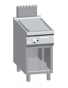 Fry Top a gas, rigato, acciaio dolce su vano aperto Serie 900 Solution