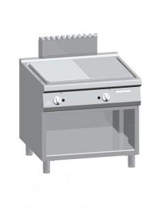 Fry Top elettrico, 1/2 rigato 1/2 liscio acciaio dolce su vano aperto Serie 900