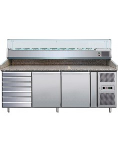 Banco refrigerato pizza - inox - 2 Sportelli -7 Cassetti - granito - vetrina