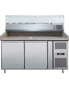 Banco refrigerato pizza - inox - 2 Sportelli - granito - vetrina